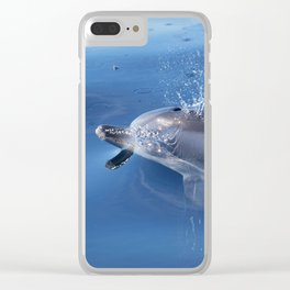 Dolphins and bubbles Clear iPhone Case