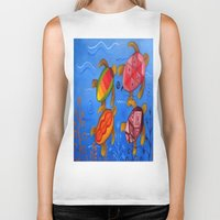 swimming Biker Tanks featuring Swimming by Montes Arte Mexicano