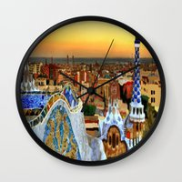 barcelona Wall Clocks featuring Barcelona by Darla Designs
