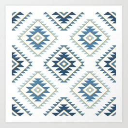 Aztec Style Motif Pattern Blues White Gold Art Print