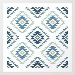 Aztec Style Motif Pattern Blues White Gold Art Print