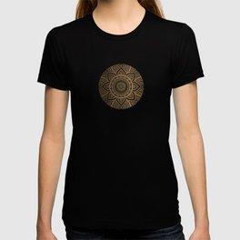 Gold Mandala Pattern Illustration With White Shimmer T-shirt