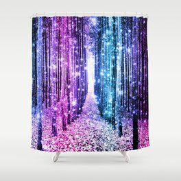 Magical Forest : Aqua Periwinkle Purple Pink Ombre Sparkle Shower Curtain