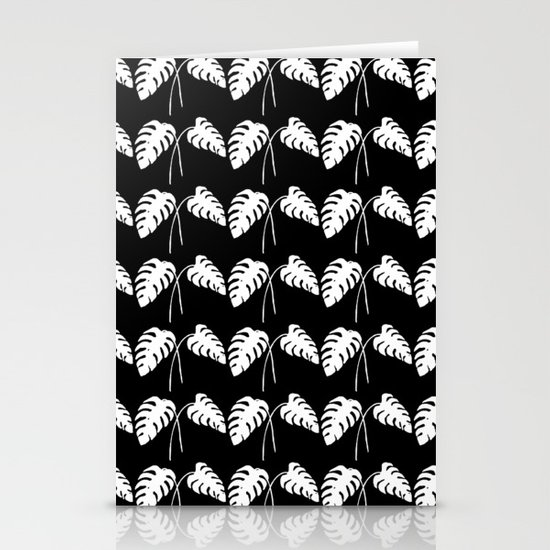 Tropical Monstera Leaves White on Black Stationery Cards