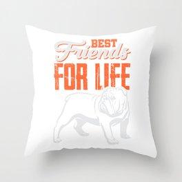 English Bulldog Best Friends For Life Throw Pillow