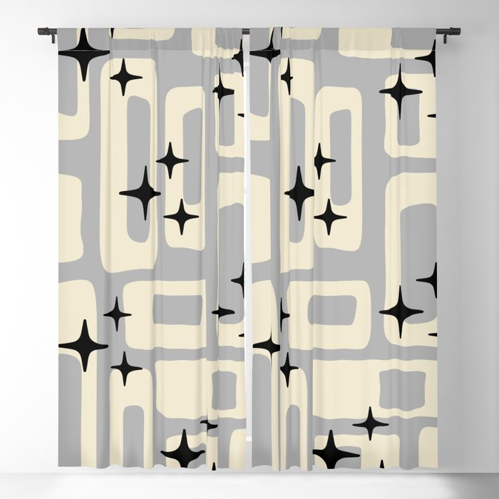 Retro Mid Century Modern Abstract Pattern 576 Gray Black Blackout Curtain By Tonymagner Society6