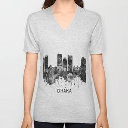 Dhaka Bangladesh Skyline BW Unisex V-Neck