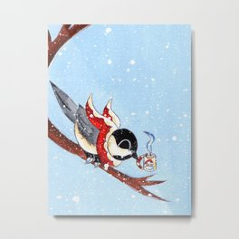 Hot Chocolate Chickadee Metal Print