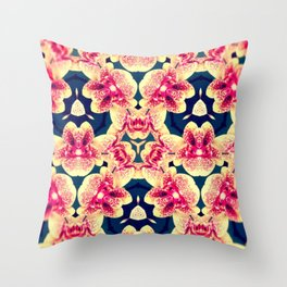 Kaleidoscope Orchids Throw Pillow