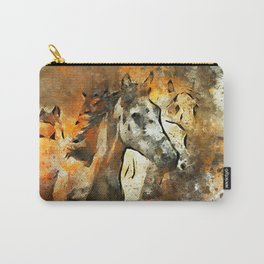 Watercolor Galloping Horses On Raw Canvas | Splatter Painting Carry-All Pouch