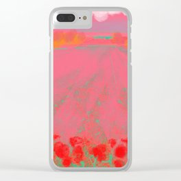 Pink Landscape with Red Flowers Clear iPhone Case