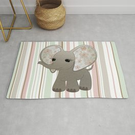 Baby Elephant with Flowers Rug