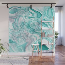 Teal And Purple Alcohol Ink Intertwines Wall Mural