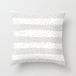 Simple Christmas seamless pattern Golden Confetti on Silver and White Stripes Background Throw Pillow