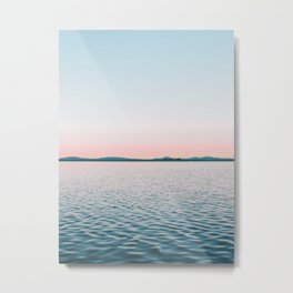 Pink, Blue, Landscape, Water, Nature, Modern art, Scandinavian, Art, Minimal, Wall art Metal Print