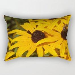 Bee & Autumn Yellow Flowers Rectangular Pillow