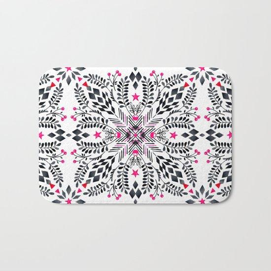 Winter Graphic Folk Art Pattern Bath Mat