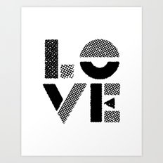 LOVE black-white contemporary minimalist vintage typography poster design home wall decor bedroom Art Print