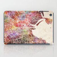 dublin iPad Cases featuring Dublin map by MapMapMaps.Watercolors