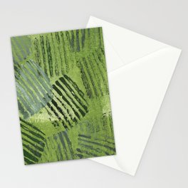 Green striped abstraction Stationery Cards