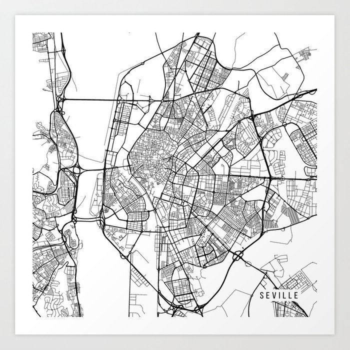 Map Of Spain Drawing.Seville Map Spain Black And White Art Print By Mainstreetmaps
