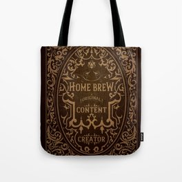 D20 Home Brew Content Creator Aged Label Tote Bag