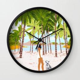 The Happy Spots, Dalmatian Dog Pets, Bohemian Woman Beach Tropical Palm Fashion Illustration Wall Clock