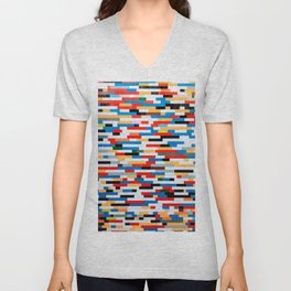 Multicolored Bright Building Bricks Pattern  Unisex V-Neck