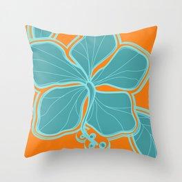 Kailua Hibiscus Hawaiian Engineered Floral Throw Pillow