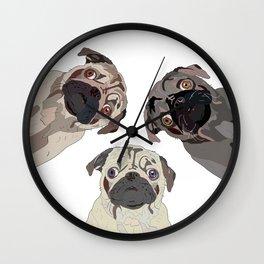 Triple Pugs Wall Clock