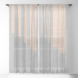 Blush stripes on concrete Sheer Curtain