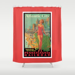 Atlantic city vintage bathing beauty Shower Curtain