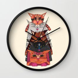 pile of cats Wall Clock