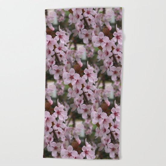 Cherry Plum Blossoms Beach Towel