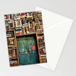 Library with books door entrance Stationery Cards