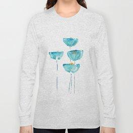 blue poppy watercolor Long Sleeve T-shirt