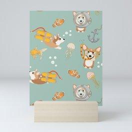 Majesty Pembroke - Happy Diving Corgis II Mini Art Print