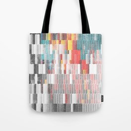 Vibrant Graffity on Black and White Geometry Tote Bag