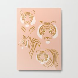 Tigers in Blush + Gold Metal Print