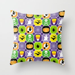 Halloween Pattern 2 - Ghosts, Skulls, Flying Witches, Bats, Spiders, Pumpkins, Candy Corn Throw Pillow