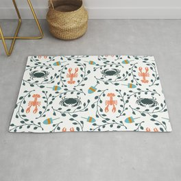 Lobster and Crab Motif Rug
