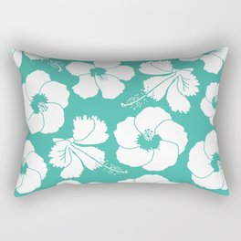 Hibiscus Flowers in Turquoise Blue Rectangular Pillow