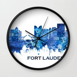 Fort Lauderdale Florida Skyline Blue Wall Clock