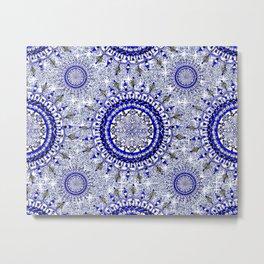 Grey Glittering Blue Snowflake Mandala Textile Metal Print