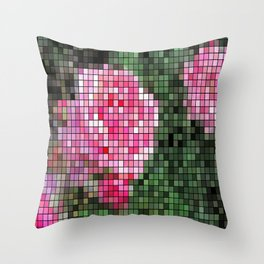 Pink Roses in Anzures 1 Mosaic Throw Pillow
