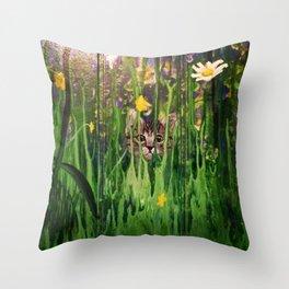 Stalking Kitten Throw Pillow