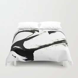 Brushstroke 6: a minimal, abstract, black and white piece Duvet Cover