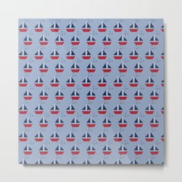 Nautical Theme Sailboats Pattern Metal Print