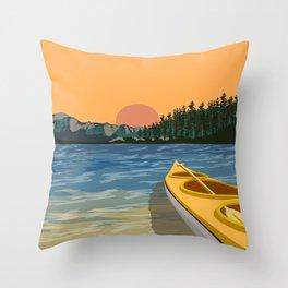 South Lake Tahoe Canoe Throw Pillow