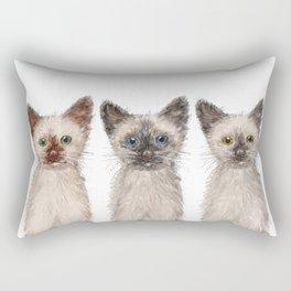 Triple Siamese Cats Rectangular Pillow